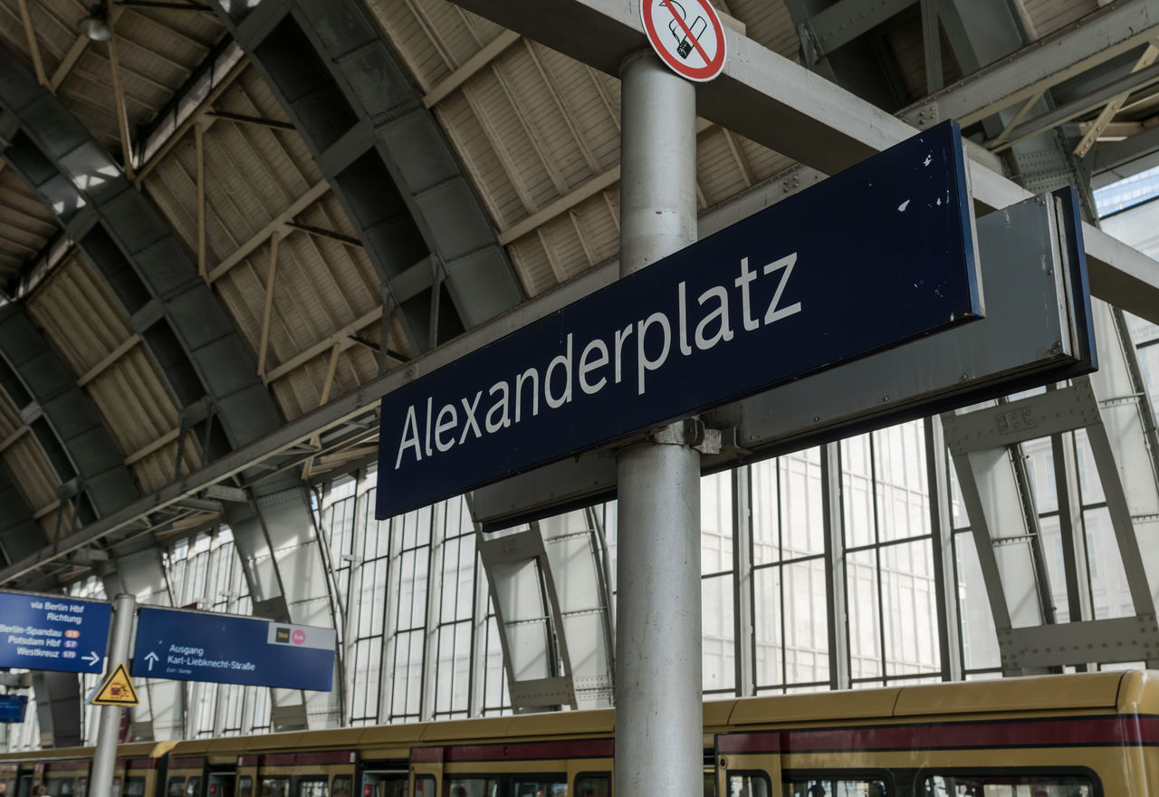 Alexanderplatz Architecture Bahnhof Building Exterior Ceiling Communication Directional Sign Guidance Information Information Sign Journey Low Angle View Railroad Station Schild Signboard Station Station Sign Subway Station Text Western Script