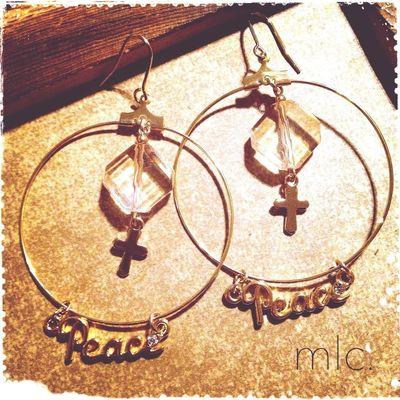 "【""Peace""hoop】 Handmade Handmade By Me Handmade Jewellery Mlc.handmade Accessory"