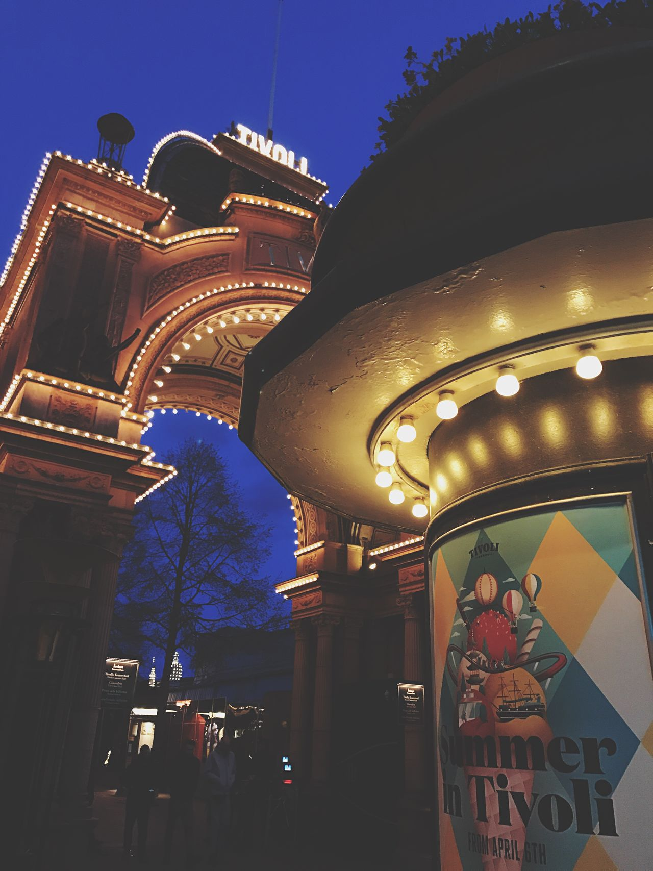 Tivoli in Copenhagen. April 2017. Low Angle View Built Structure Illuminated Night Outdoors Architecture Building Exterior No People Travel Destinations Sky Clear Sky City Close-up Copenaghen With Love