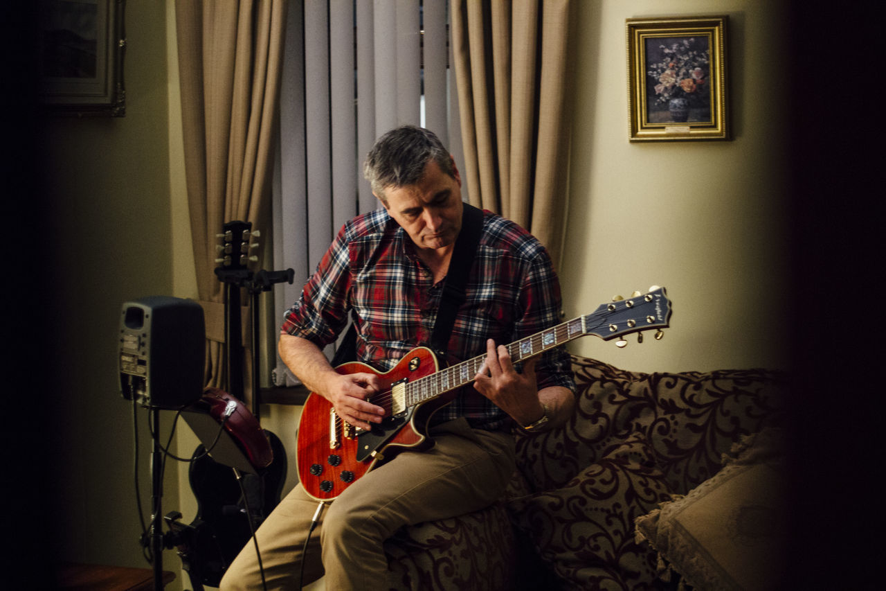 Beautiful stock photos of gitarre, music, only men, playing, lifestyles