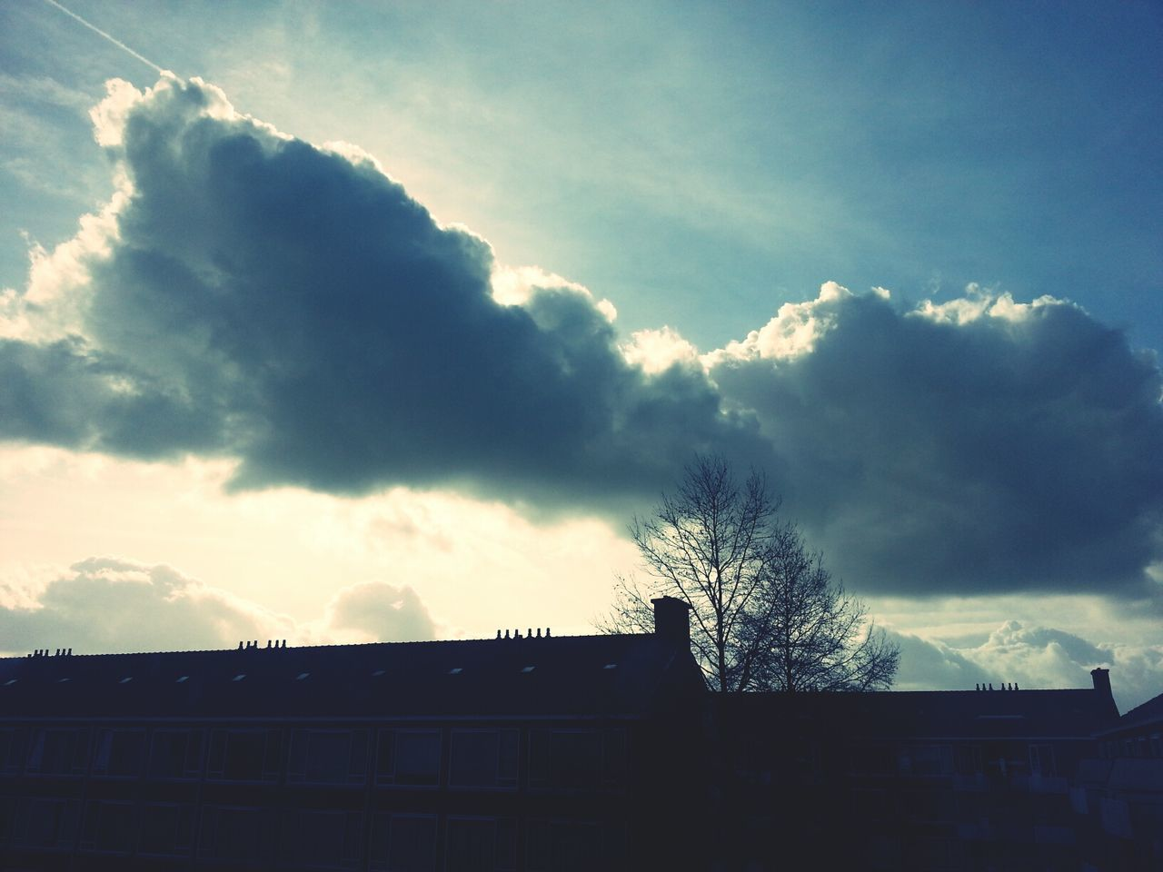 sky, cloud - sky, low angle view, built structure, architecture, outdoors, day, building exterior, silhouette, no people, nature, beauty in nature, tree