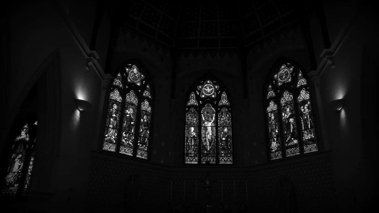 religion, place of worship, architecture, window, indoors, spirituality, no people, day