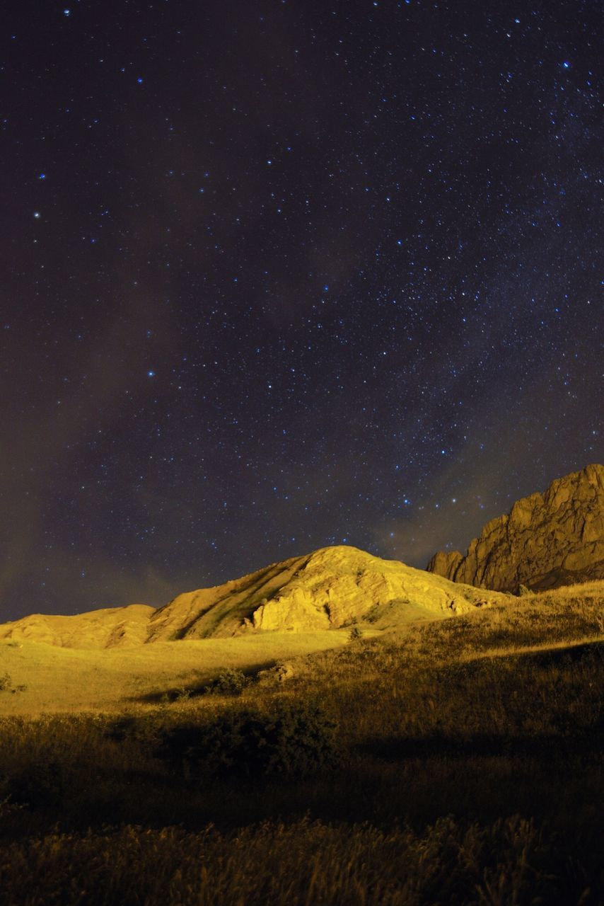 Low Angle View Of Pyrenees Against Star Field At Night