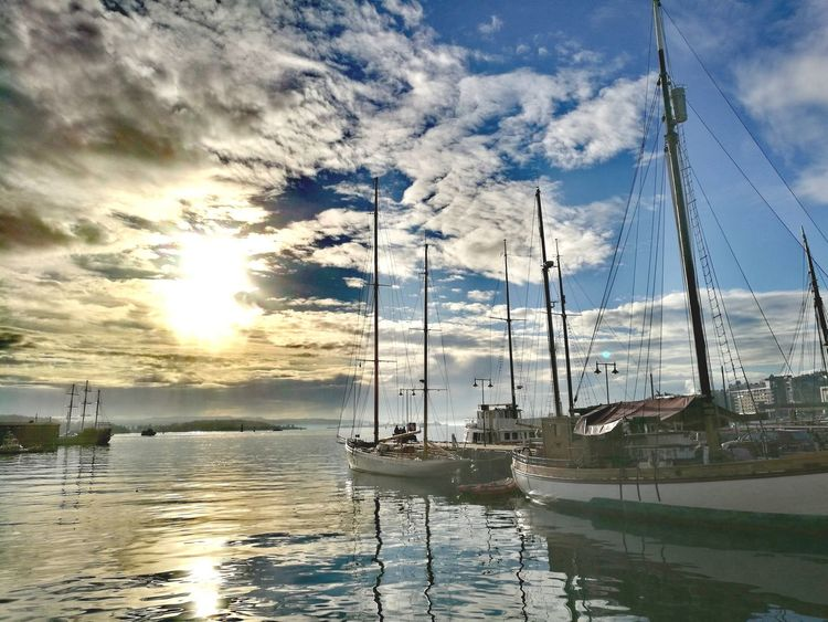 Oslo Aker Brygge Norway Norge Sea Sunny Day Ships Water Boats Walking Around