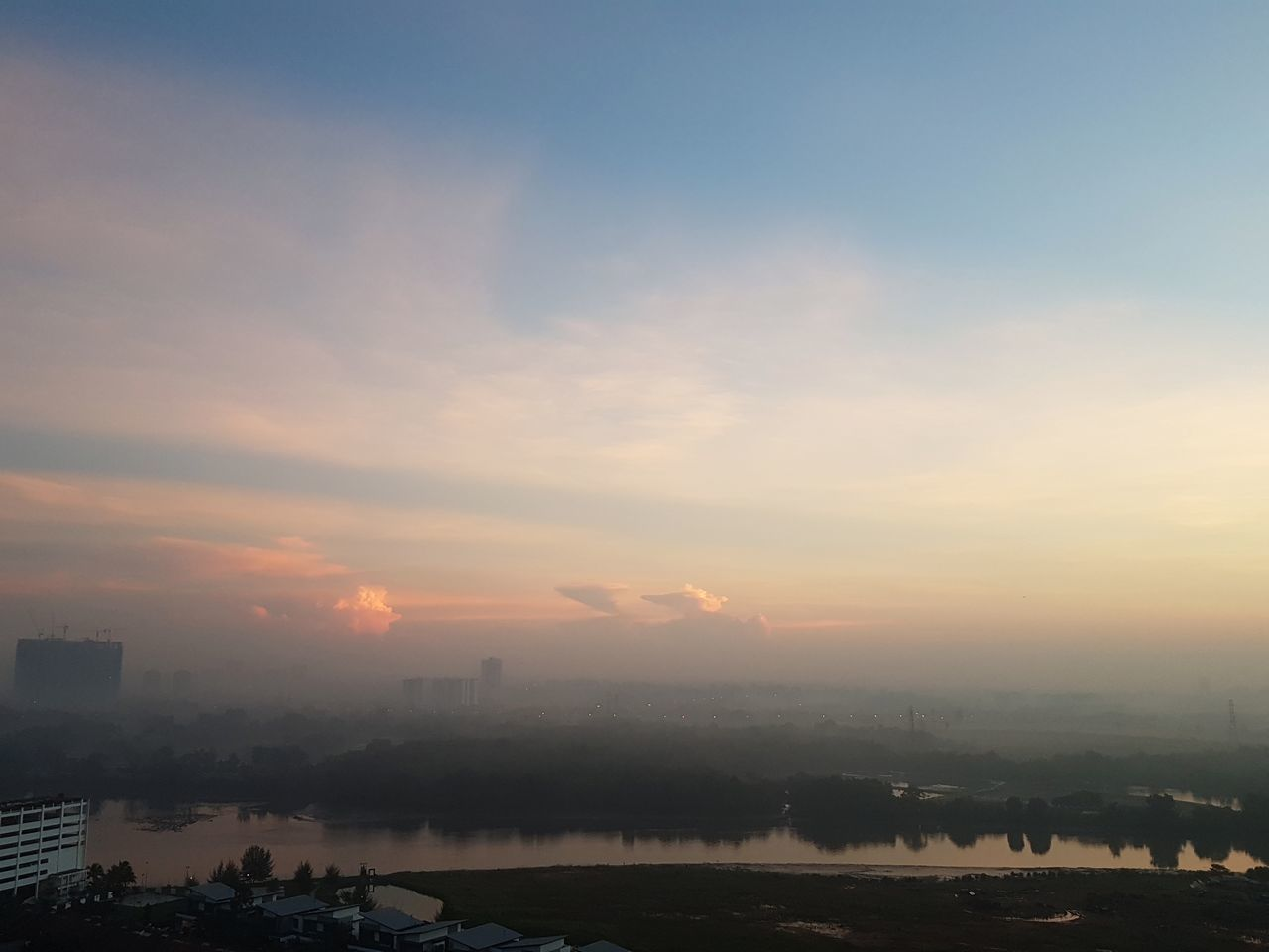 Fog Sunset Morning City Cloud - Sky Sky Environment Outdoors Tranquility Landscape Travel Destinations Mountain Scenics Vacations Dawn No People Social Issues Sun Nature Cold Temperature Johor Bahru Malaysia