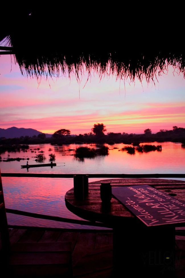 4000 Islands Don Det Laos Laos Travel Fishing Boat Reflection On Water Sunset Pink Sunset Sunset Side Painting Travel Photography Traveling