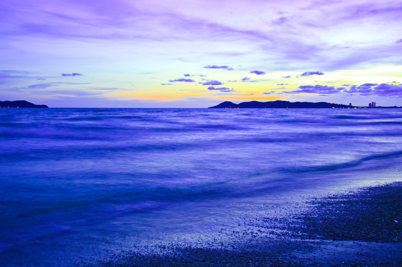 Beautiful sunset in evening at the sea Thailand. Sunset Sea Beach Cloud - Sky Seascape Wave Ocean Dramatic Sky Landscape Travel Thailand Outdoors Beauty In Nature Scenics Softwaves Wave Weather Island Tourism Season  No People Nature Dusk Evening Water