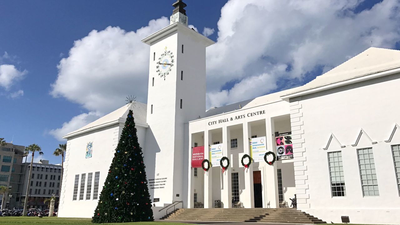 Christmas in Bermy Bermuda Christmas Tree Christmastime Building Exterior Architecture Built Structure Outdoors Sky Cloud - Sky Day Text City No People