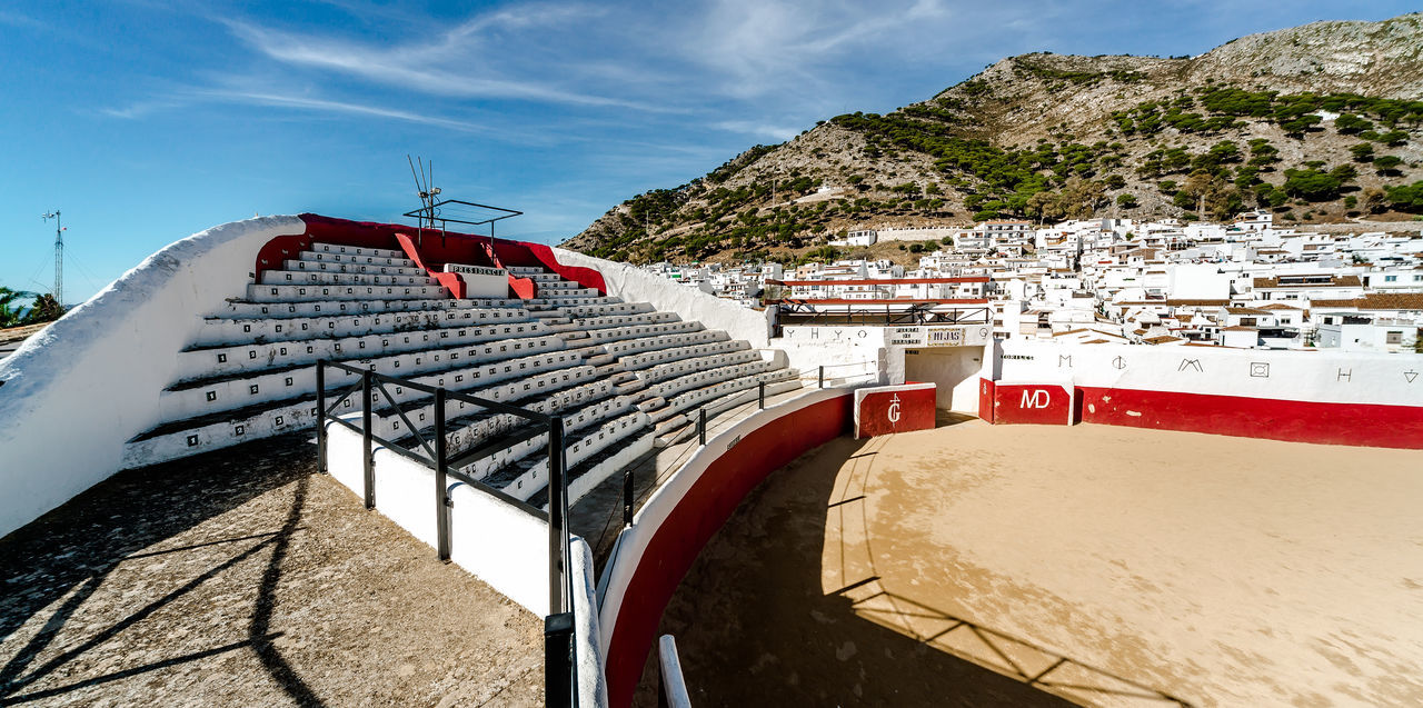 Bullring in white village of Mijas. Built in 1900. Costa del Sol, Andalusia, Spain Andalucía Arena Bullfighting Arena Malaga Mijas SPAIN Stadium Ancient Architecture Built Structure Bullfight Bullfighting Bullring Corrida Costa Del Sol Empty Entertainment Landmark Mountain Nobody Old Outdoors Seats Spanish Culture Traditional Village