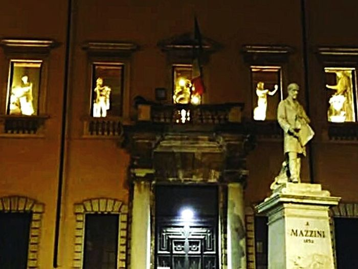 Illuminated Architecture Building Exterior Night Low Angle View Diminishing Perspective Window Architectural Column Carrara Accademia Delle Belle Arti Accademia Carrara
