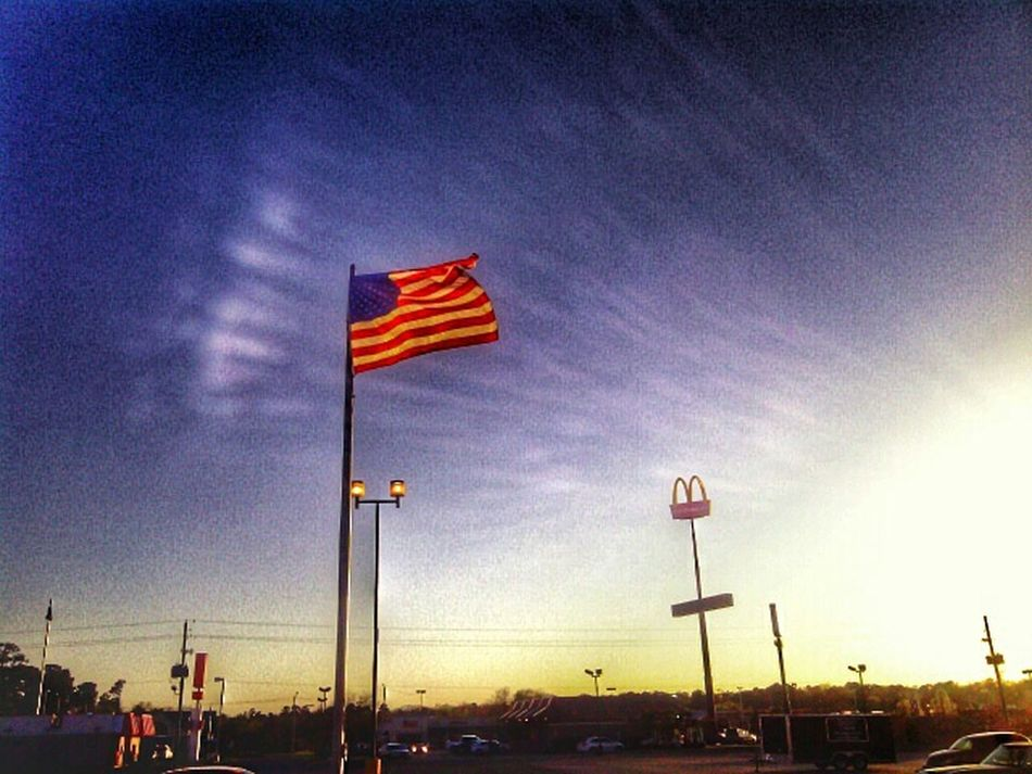 Salute the capital of capitalism .. Mc'America :) Portrait Of America Fast Food Food On The Go Success Stories Businesstalk American Flag Check This Out