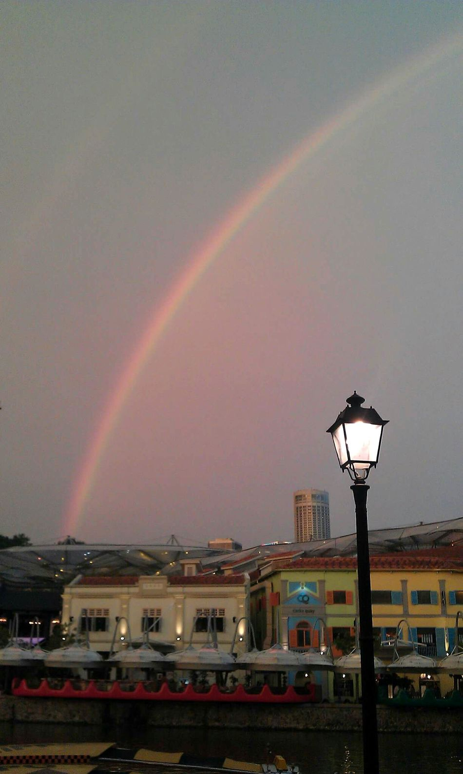 Sky Illuminated Built Structure Nature Beauty In Nature No People Outdoors Architecture Night Scenics Bridge - Man Made Structure Rainbow Double Rainbows Singapore Downtown District