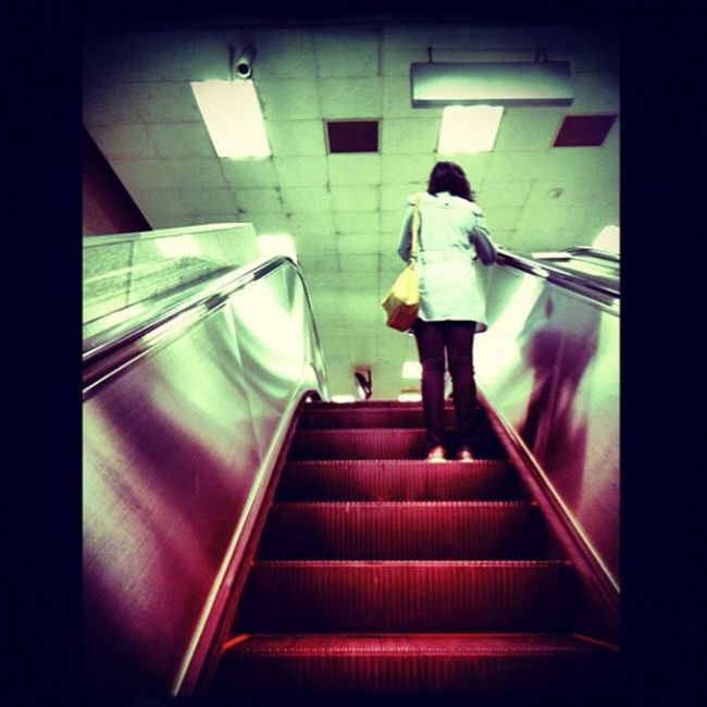 Upstairs Life Lady Eacalator Travel Where Are You Going? Followers Go To Work Feel The Journey