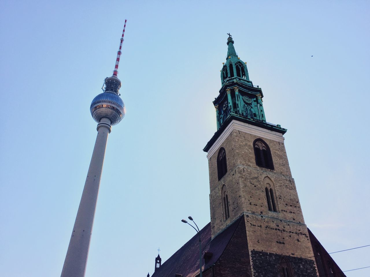 Alex lookup. Architecture Berlin Berlin Mitte Berlin Photography Berliner Ansichten Blue Church City City City Life Cityscapes Clear Sky Clock Tower Day Fernsehturm Fernsehturm Berlin  Low Angle View No People Outdoors Sky Sun Tower Travel Travel Destinations TV Tower