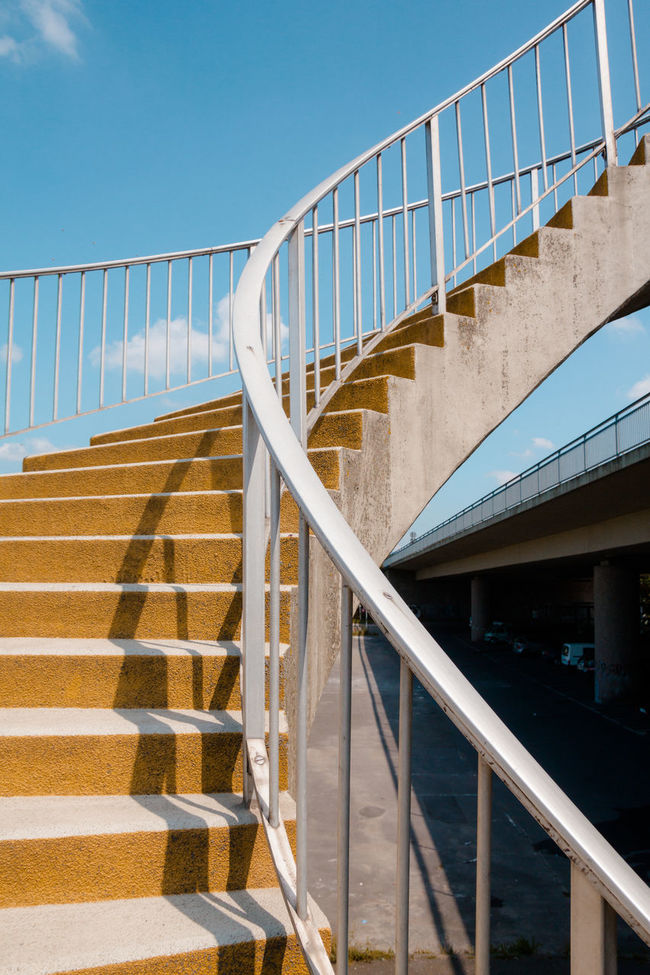 Spiral Staircase Architecture Blue Bridge - Man Made Structure Built Structure Cloud Day Diminishing Perspective Engineering Modern No People Outdoors Railing Schiersteiner Brücke Sky Spiral Staircase Sunlight Sunny The Way Forward Wiesbaden
