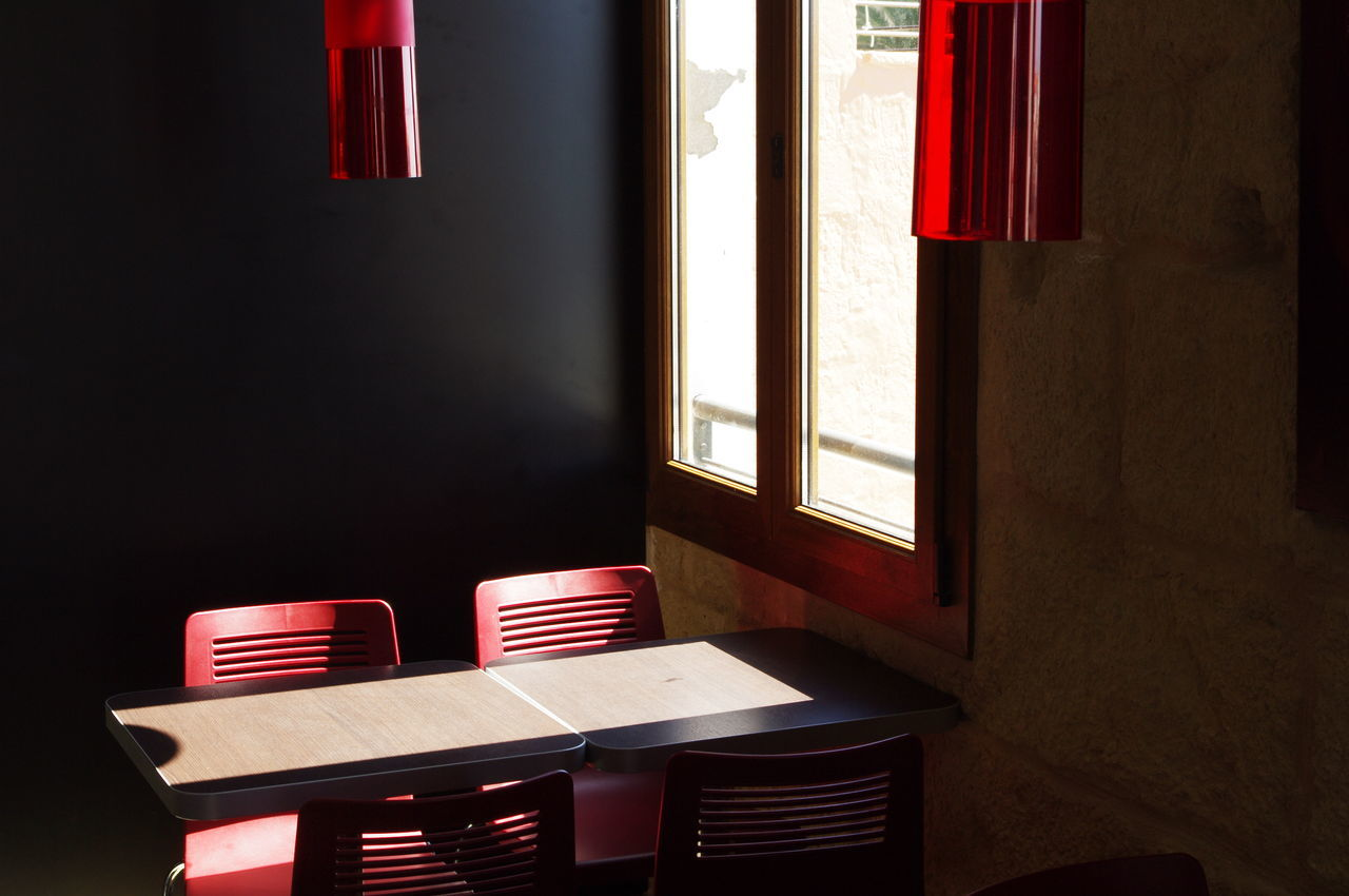 window, no people, indoors, table, chair, red, day, seat, architecture