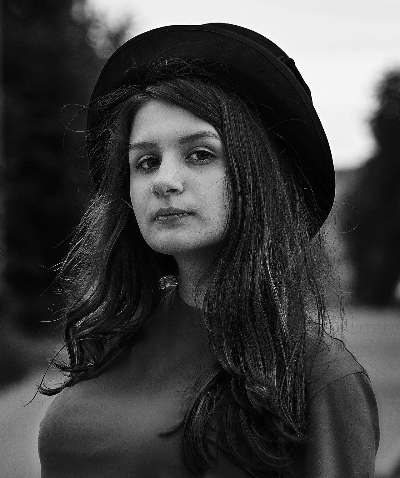 Russia Daughter Long Hair Beautiful Woman Serious One Person Real People Young Adult Beauty Lifestyles Young Women Leisure Activity Focus On Foreground Outdoors Portrait Day Close-up Adult People Portrait Photography Blackandwhite Black And White Blackandwhite Photography Black & White Black And White Photography