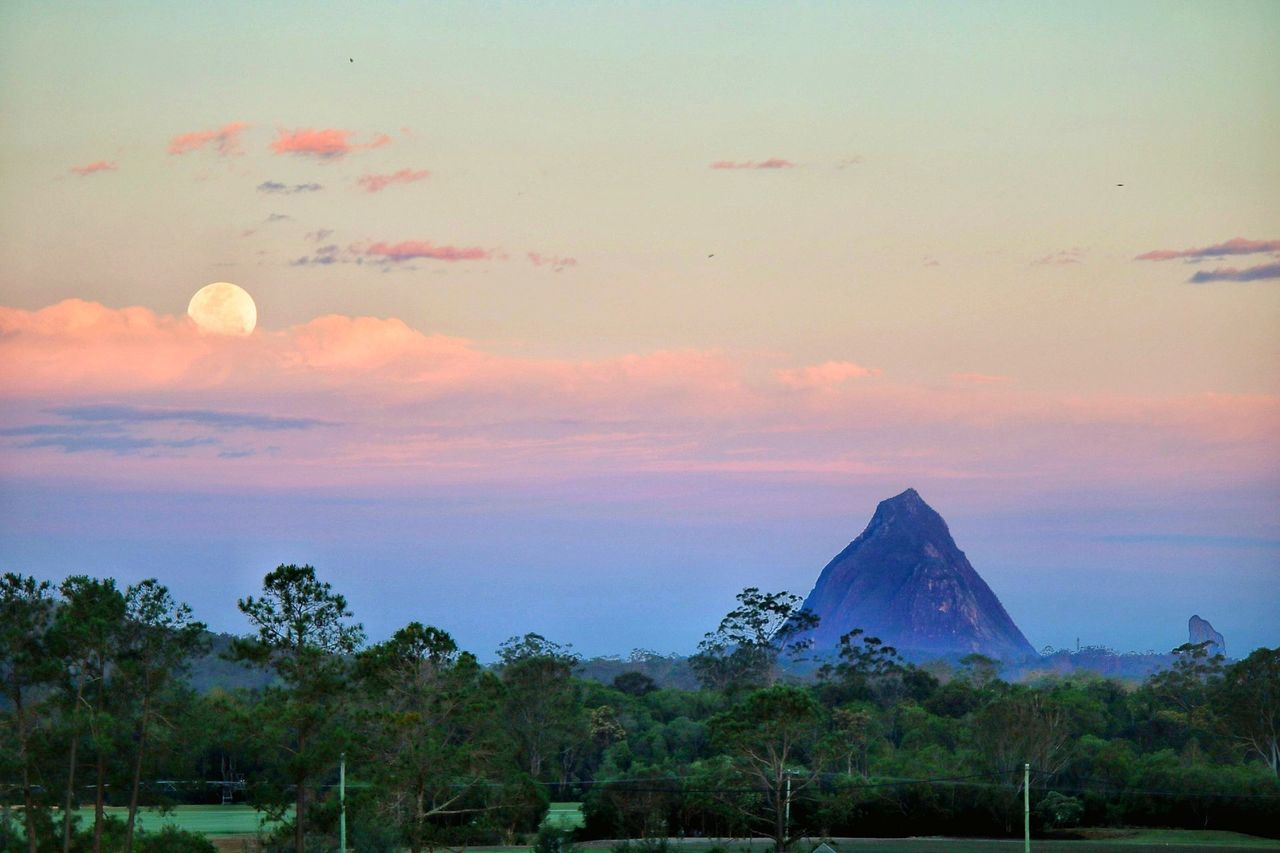 Sunset Landscape No People Sky Nature Outdoors Moon Supermoon Moonrise Glasshouse Mountains Brisbane Non-urban Scene Mountain Countryside