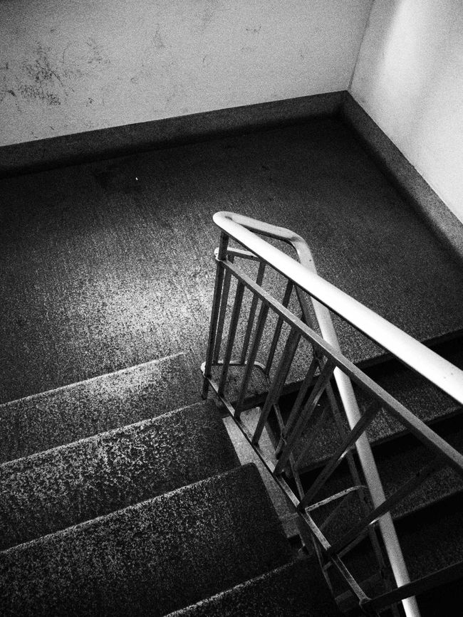 Absence Black And White Black And White Collection  Black And White Photography Chair Design Empty Film Noir Flooring In A Row Indoors  Metal Narrow Pattern Railing Shadow Staircase Stairs Steps Structure Table Technology Tiled Floor Wall