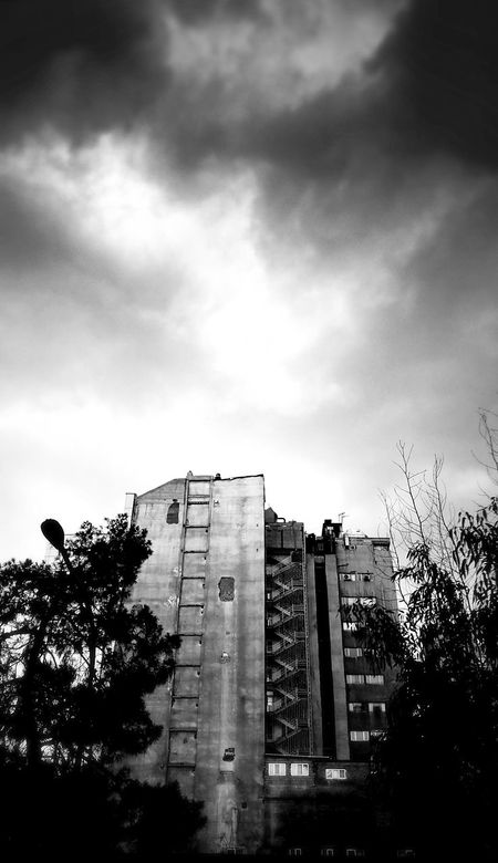 Black And White City Building Clouds And Sky