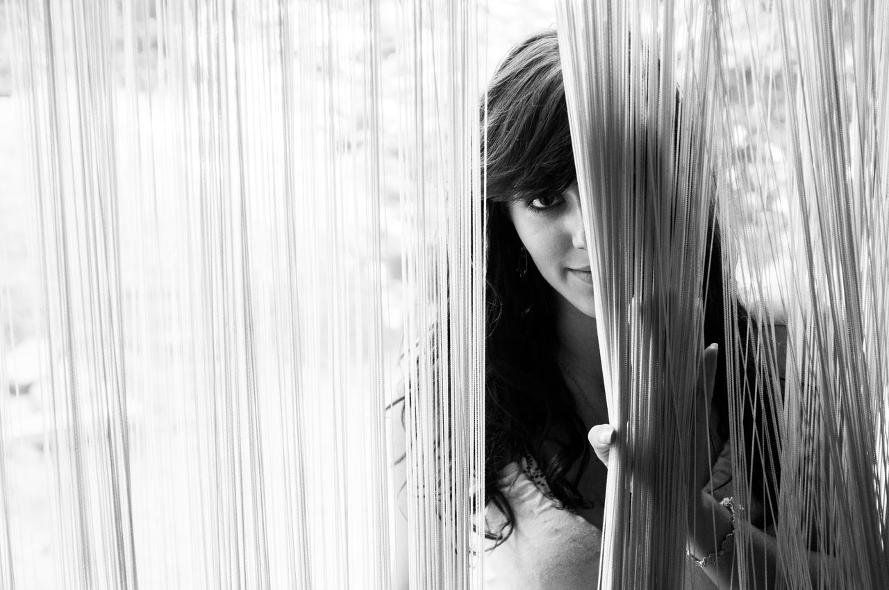 Hidden b e a u t y. #EyeEmNewHere Curtain Day Direct View Eye Girl Hidden Hidden Beauty Indoors  Looking Through Window One Eye One Person Open Open Eyes Open My World Portrait Standing Sun Sunlight Traveldiary View Window Woman Young Adult Young Women