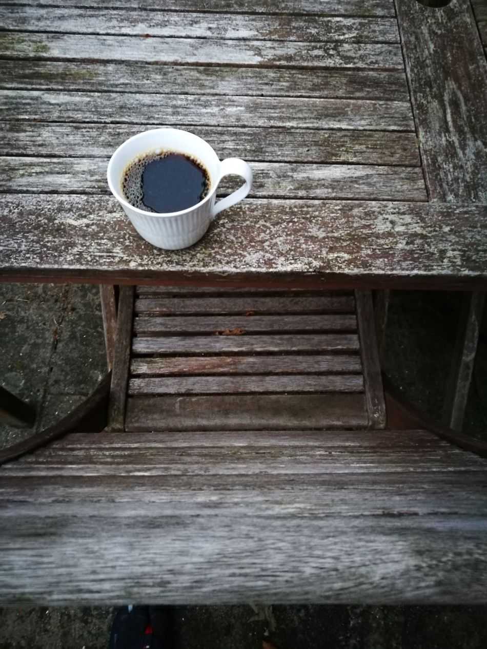 Coffee Cup Coffee - Drink Drink Table Wood - Material Food And Drink No People Refreshment Day Outdoors Freshness
