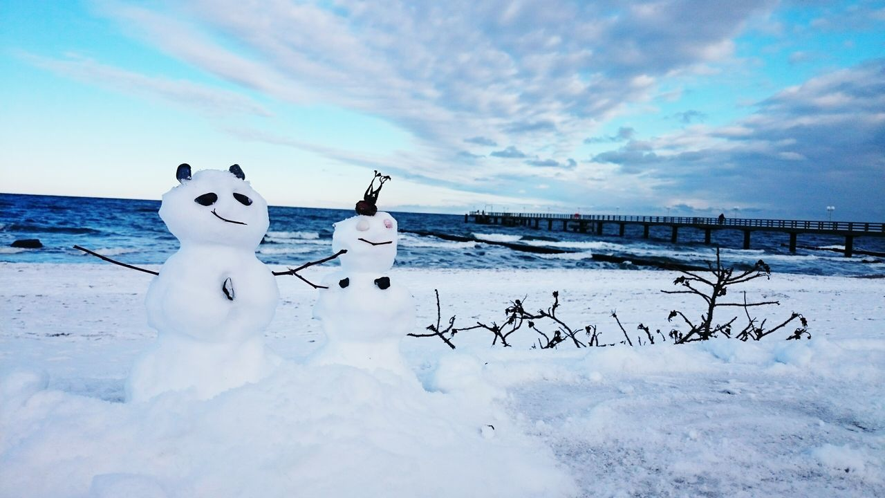 First Eyeem Photo Snowman Wintertime Winterbeach Sky And Clouds Water Baltic Sea Ostsee Ostseestrand Seebrücke Ostseebad Kühlungsborn