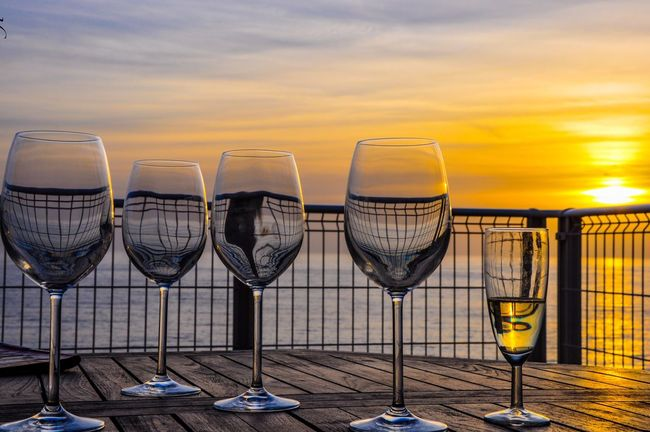 Sunset Cloud - Sky Sky No People Tranquility Nature Arrangement Outdoors Tranquil Scene Drinking Glass Day in Corse