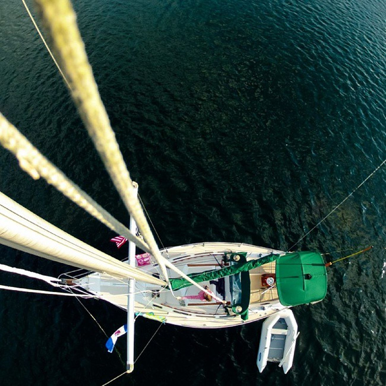 Photo from the Masthead of our Catalina30 . When this photo was taken, I seriously thought my camera was stuck at the top when it became intertwined with a halyard, and that I'd be going up afterwards. Gopro Sailing igersottawa