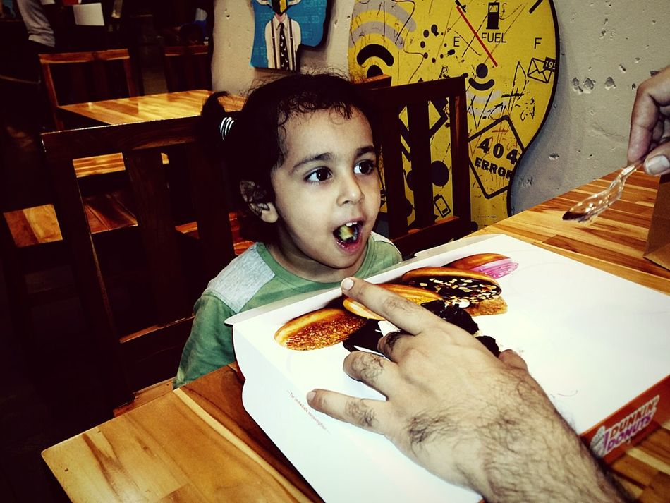 Portrait Indoors  Looking At Camera Childhood Front View Casual Clothing Creativity Fun With Father Enjoying Icecream