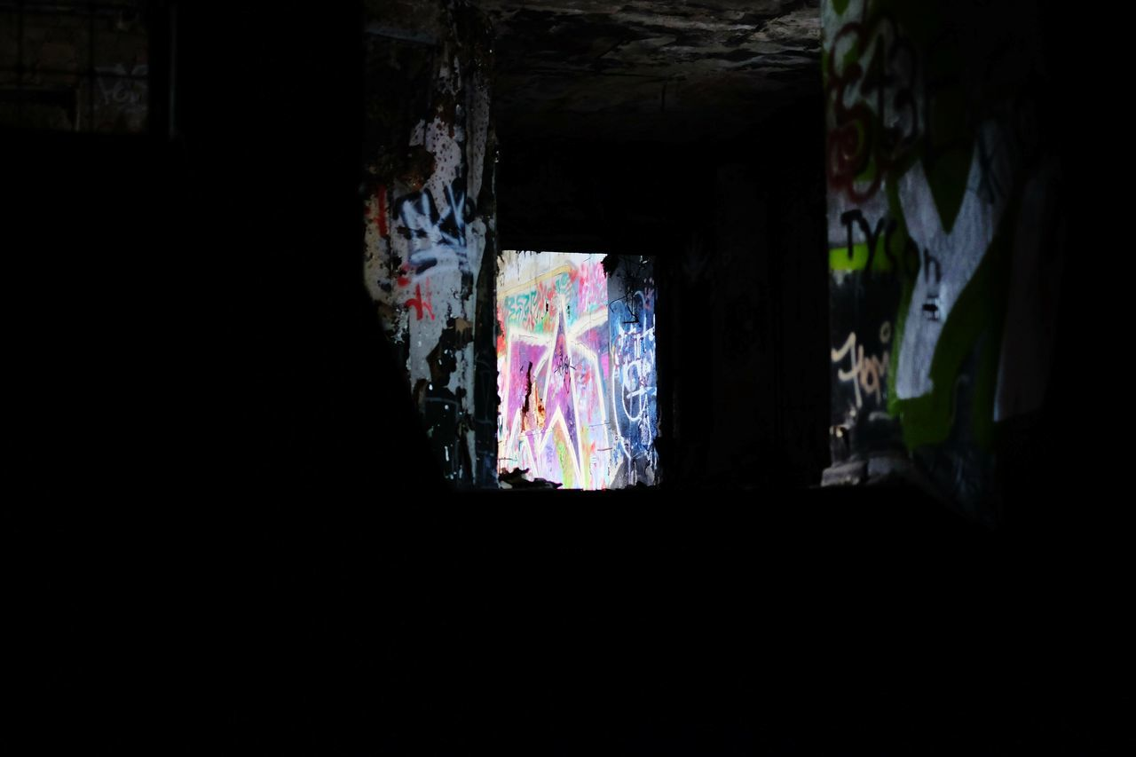 graffiti, window, architecture, built structure, indoors, no people, multi colored, day