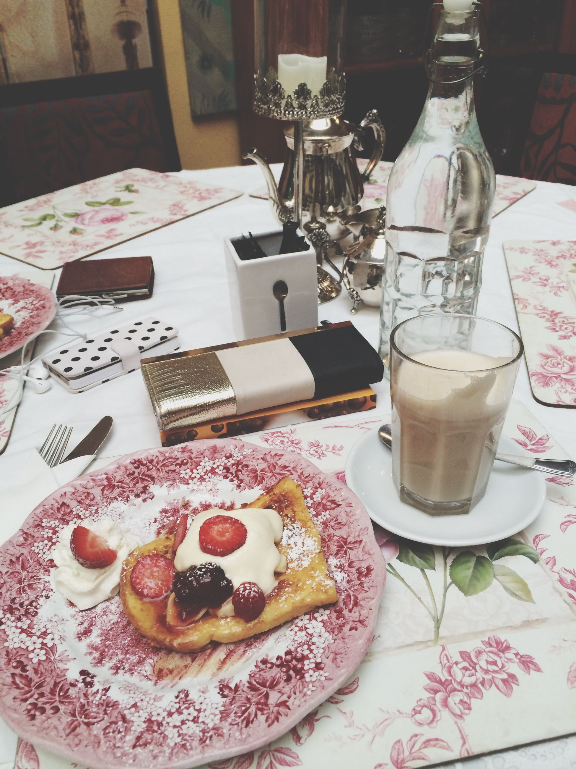 food and drink, indoors, table, sweet food, food, freshness, dessert, still life, ready-to-eat, plate, indulgence, drink, cake, unhealthy eating, coffee cup, refreshment, high angle view, coffee - drink, chocolate, breakfast