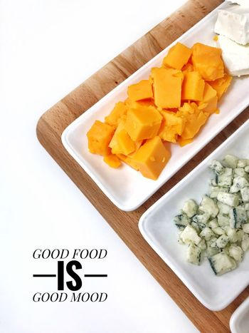 Good food is good mood Flat Lay Still Life Food Day White Background Close-up Ready-to-eat Studio Shot No People Indoors  Healthy Eating High Angle View Freshness Food And Drink Food Good Food Good Mood Text Caption Food Stories