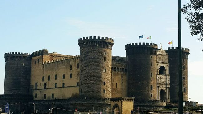 Naples, Italy Napoli Fortress Castle Oldest Building Flags