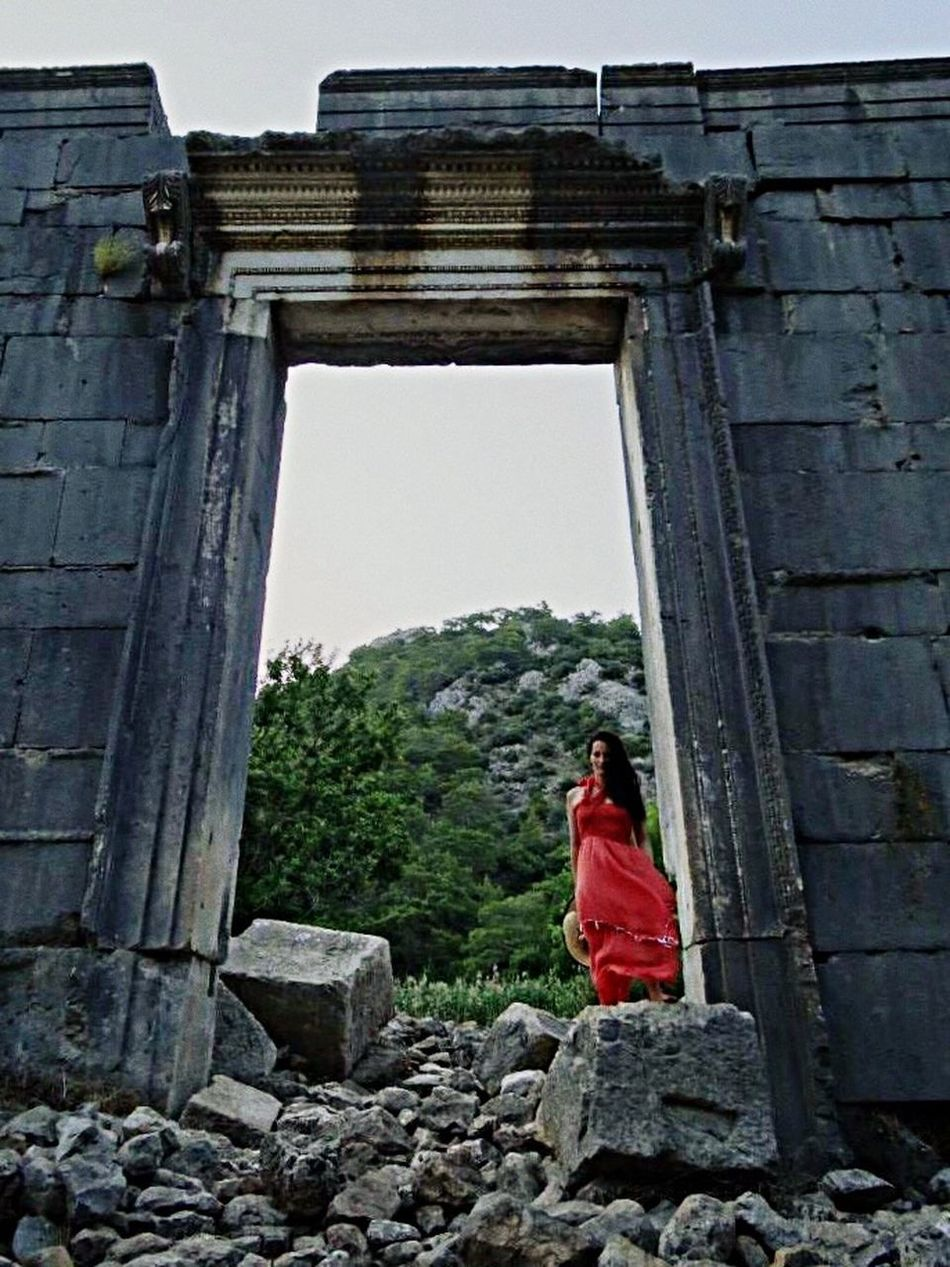 Olympus Turkey Hera Architecture Red Dress Red Mythology Person Old Buildings Ruins Architecture Scenics Woman EyeEm Best Shots Eye4photography  Beauty In Nature Lykia