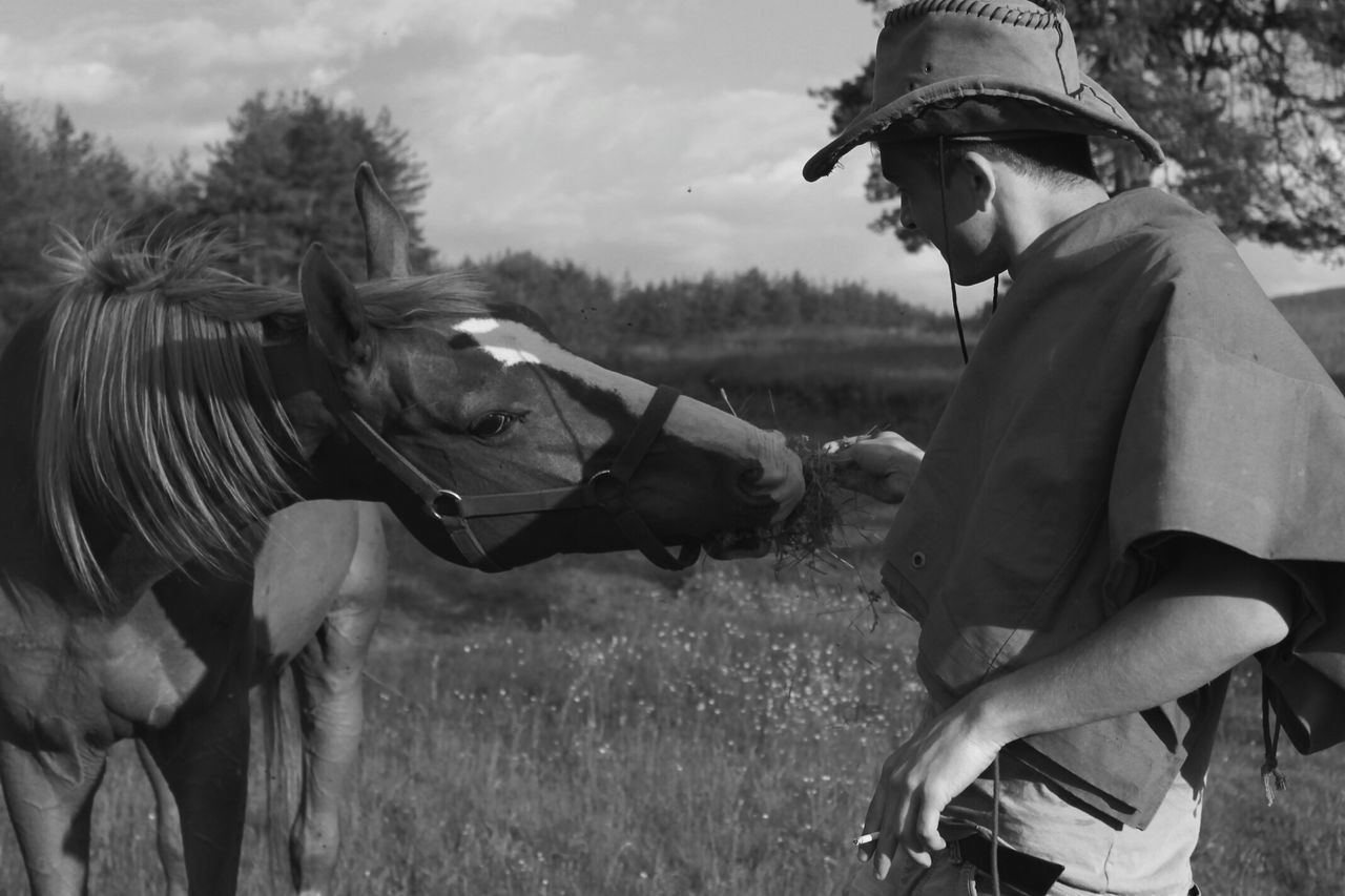 Rural Scene Rural Life Roots Horse Domestic Animals One Person One Animal Mammal Riding Nature Outdoors Jockey Livestock Young Adult People Grass Day Sport Adult Men Adults Only Hoofed Mammal Close-up