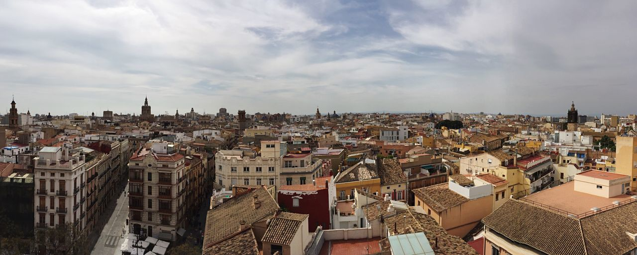 Architecture Building Exterior Cityscape Built Structure Sky Crowded City Residential Building Cloud - Sky Day Outdoors View From Above Roofs Panorama Torres De Serranos