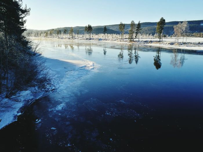 Reflection Water Tree Nature Lake Landscape Outdoors No People Day Beauty In Nature Blue Sky Winter Cold Temperature Vestre Aadal Norway Hello World