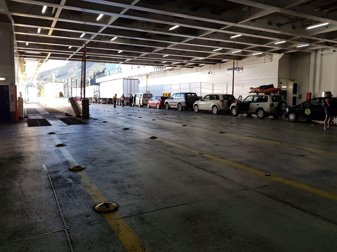 Loading the car deck. Built Structure Industry Interislander Ferry New Zealand NZ NZ South Island Ship Deck
