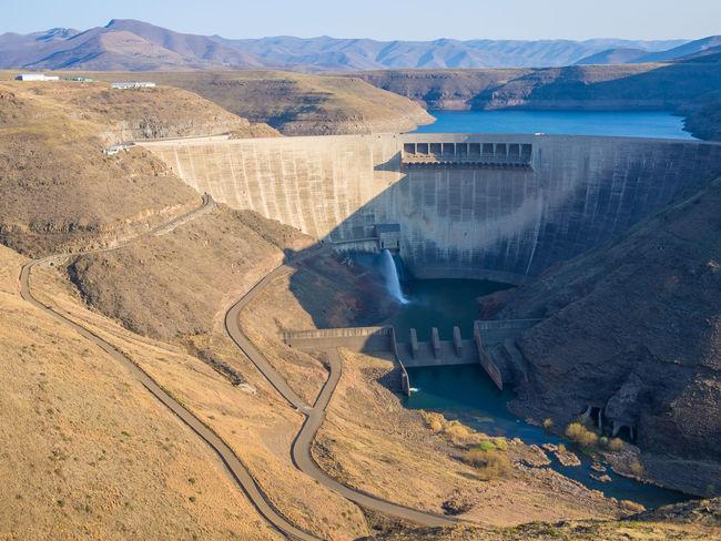 Concrete Africa African Katse Dam Katsedam Lesotho Power Plant Hydro Dam Hydro Power Hydroelectric Power Mountains