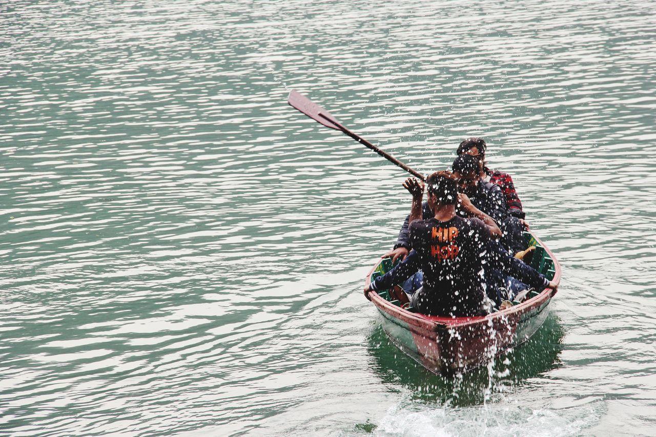 Phewa Lake Pokhara! Local Life Boatman Floating On Water
