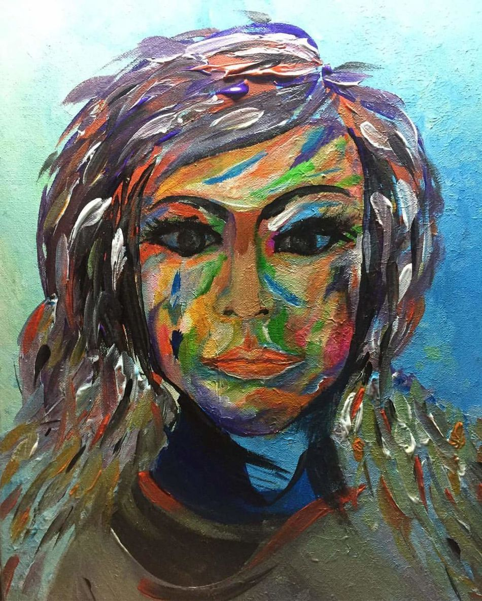 Woman Face Paint Headshot Close-up Multi Colored Portrait Art ArtWork Painting Acrylic Painting Only Women One Woman Only Mid Adult Adults Only Adult Looking At Camera One Person Human Body Part Human Face Real People Young Women One Young Woman Only People Day Young Adult