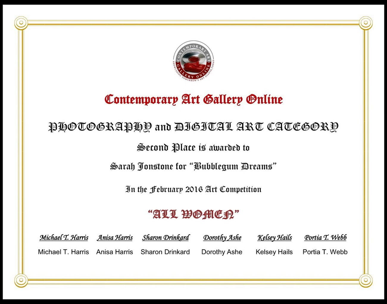 Very Proud WINNERS CIRCLE Digital Art Creative Photography Certificate Second Place Thrilled Can't Believe It Rebelpunk Contemporary Art Gallery Yippee