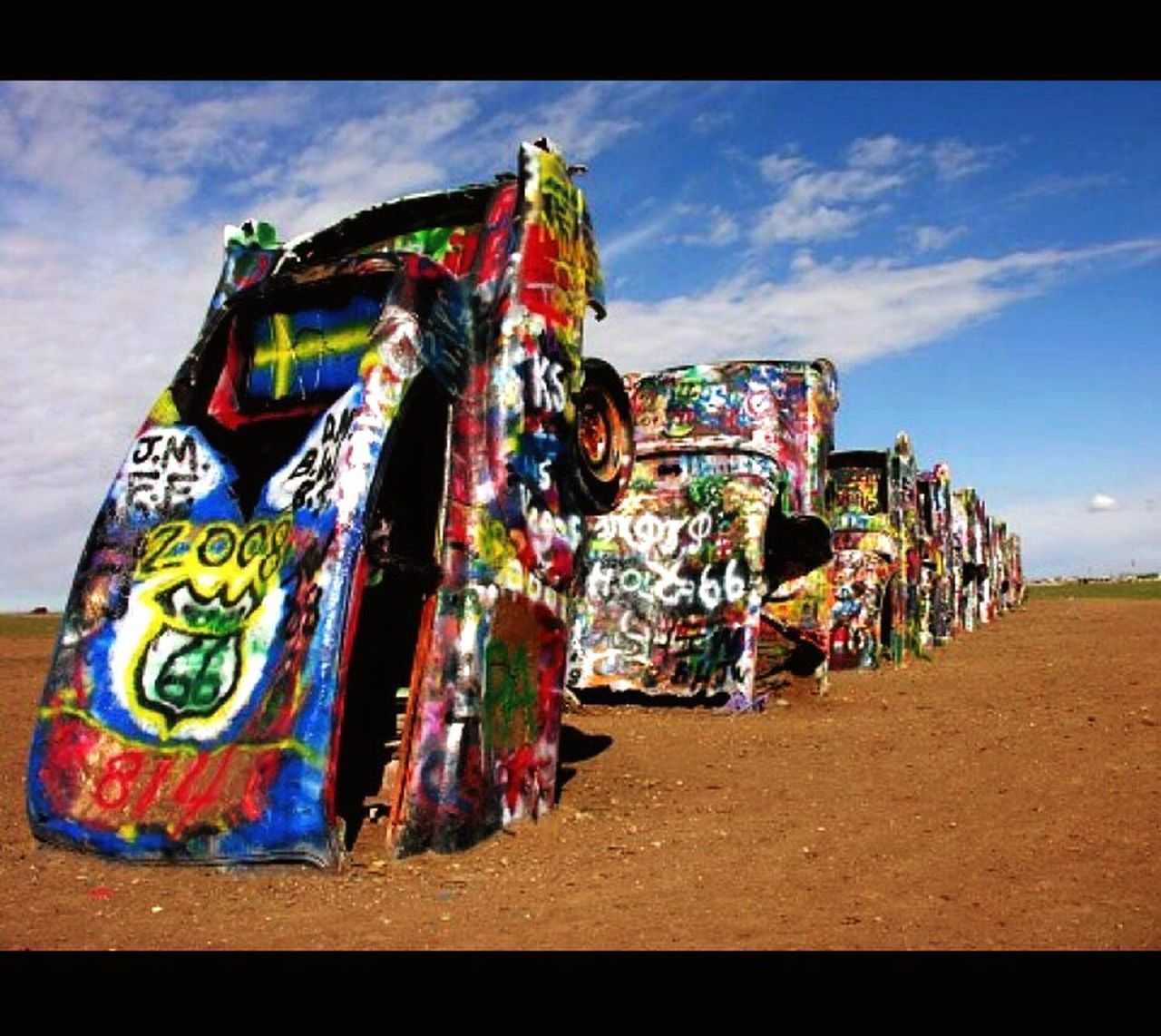Texas Cadillac ranch Multi Colored Art I-40 Amarillo Outdoors Cloud - Sky Paint 2015  Friends