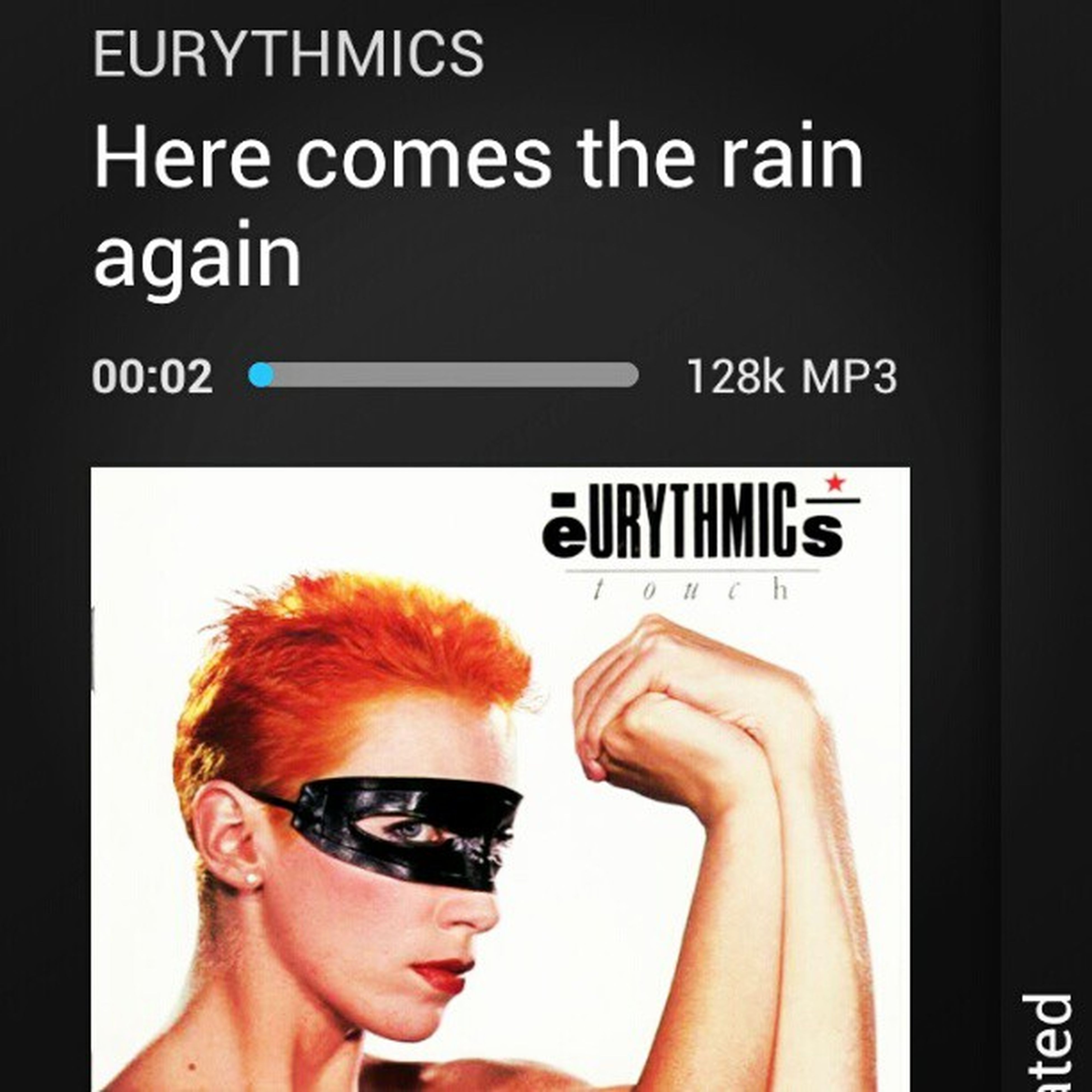 Here comes the rain again!!! Indeed it's raining here yay! :) Eurythmix EnnieLennox