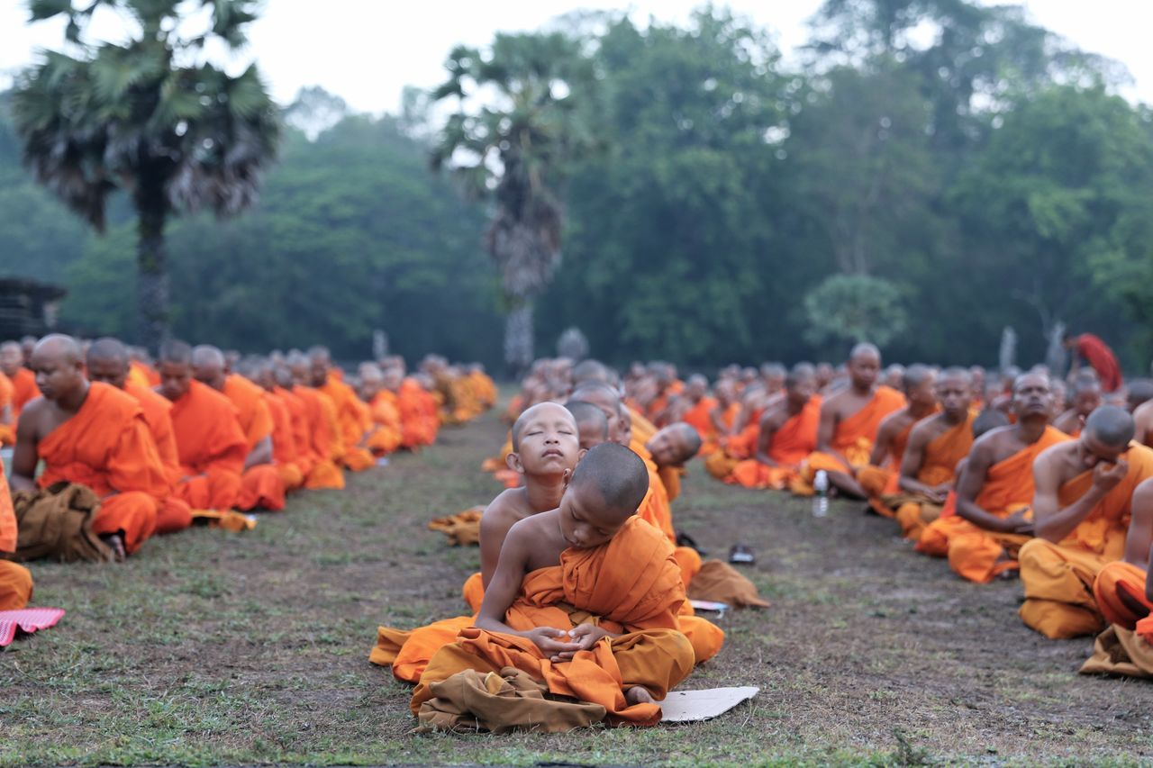 Monks Buddah Buddhism Budda In Temple Grounds Little Monks Siem Reap Cambodia Travelling Travel Photography Angkor Wat Angkor Wat, Cambodia
