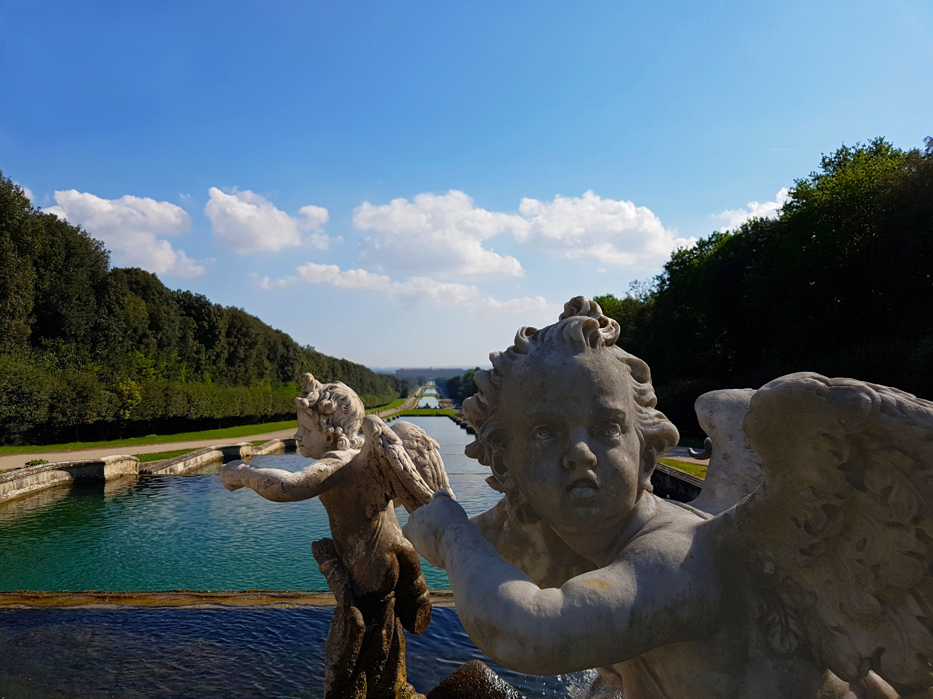 statue, sky, water, elephant, only men, day, sculpture, outdoors, people, adult, one man only
