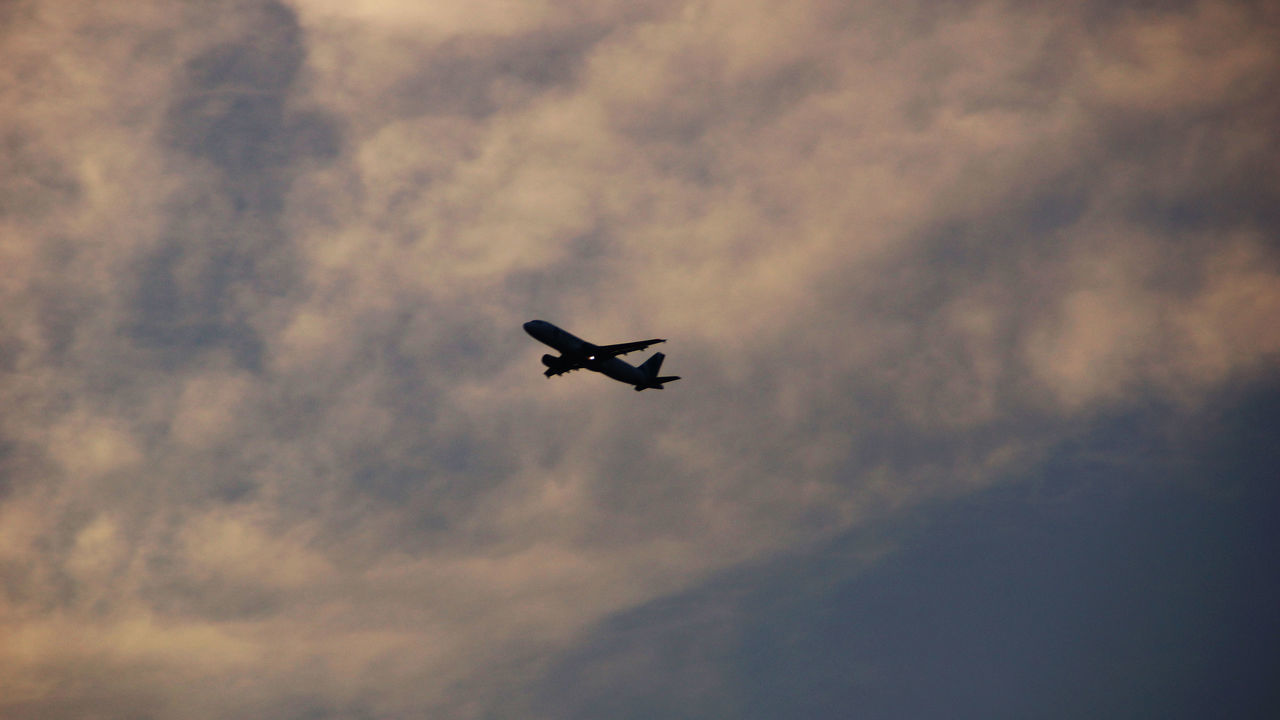 flying, sky, journey, airplane, low angle view, transportation, no people, sunset, outdoors, nature, day, airplane wing