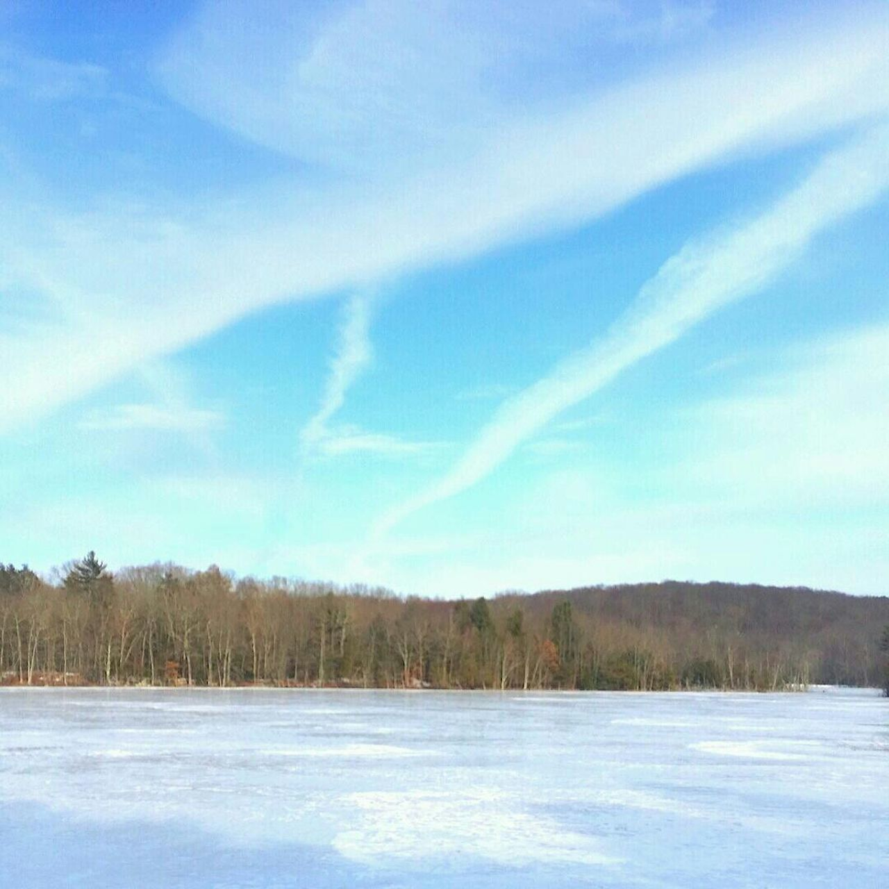 Cloudy Sky Above Frozen Lake