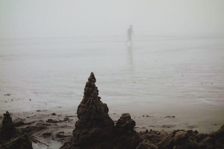 Beach Fog Beachphotography Life Is A Beach Julia On The Beach Building A Sand Castle Beach Photography People Julia's dad